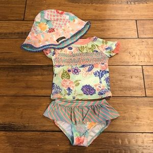 Matilda Jane Swim Suit 12-18 M with 4-6 Hat